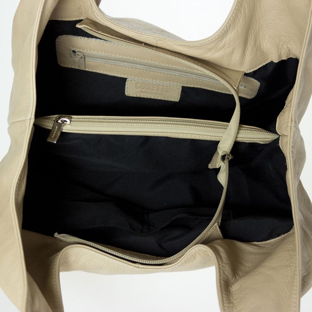 0f2a69e818 Cosette Italian Made Beige Soft Leather Slouchy Hobo Shoulder Bag