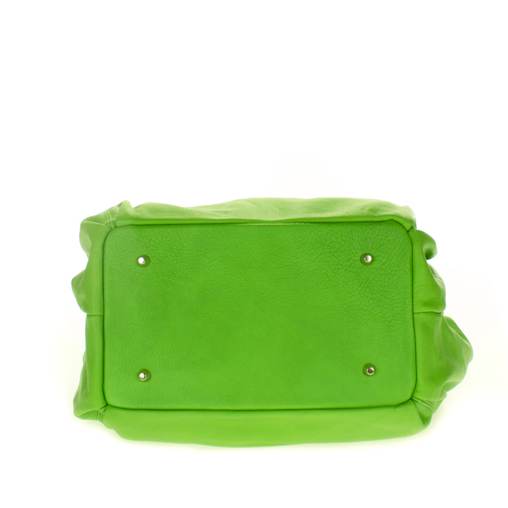 a908b68514 Cosette Italian Made Apple Green Soft Leather Slouchy Hobo Shoulder Bag