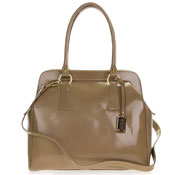 Giordano Italian Made Beige Glazed Leather Large Satchel Bag