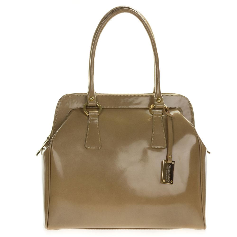 b14e744639 Giordano Italian Made Beige Glazed Leather Large Satchel Bag