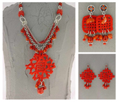 Italian Fashion Jewelry Set: Necklace And 2 Pairs Of Earrings - Sicilia1