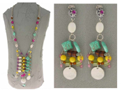 Italian Fashion Jewelry Set: Necklace And Earrings - Stromboli2