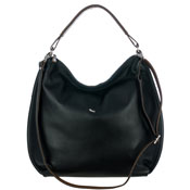 Black Calf Leather Oversized Hobo Bag Made in Italy by Bruno Rossi