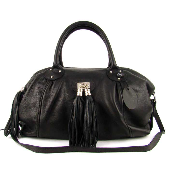 Medigriffe Italian Made Black Leather Satchel Bag - / CLEARANCE /