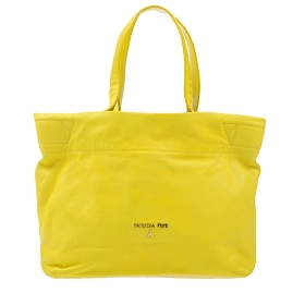 Patrizia Pepe Yellow Leather Medium Shopper Tote Bag