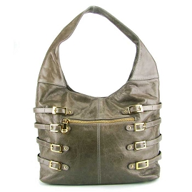 Popcorn Milano Italian Gray Leather Handbag Hobo Shoulder Bag - / CLEARANCE /