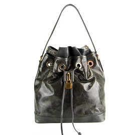 Popcorn Milano Italian TaupeGray Leather Drawstring Bucket Bag - / CLEARANCE /