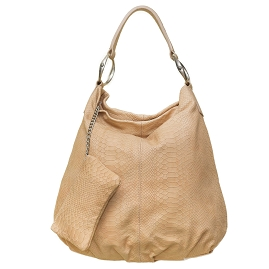Gianni Chiarini Italian Made Beige Snake Embossed Leather Hobo Bag with Detachable Pouch - /CLEARANCE/