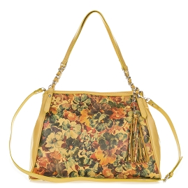 Enriched Italian Made Yellow Leather Tote Handbag with Flower Design - / CLEARANCE / - / CLEARANCE /