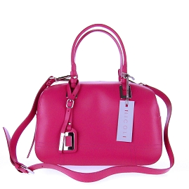 Nicoli Italian Made Fuchsia Calf Leather Structured Designer Ladylike Bowling Tote Bag