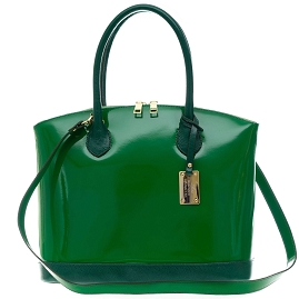 AURA Italian Made Green Patent Leather Tote