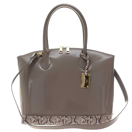 AURA Italian Made Taupe Patent Leather Tote