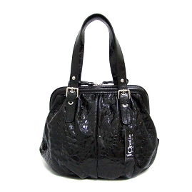 IO Pelle Italian Designer Black Patent Leather Satchel Handbag - / CLEARANCE /