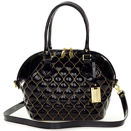 Giordano Italian Made Tote Handbag in Black Patent Quilted Leather with Gold Stitching - /CLEARANCE/
