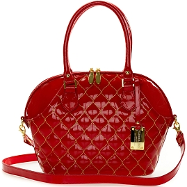 Giordano Italian Made Tote Handbag in Red Patent Quilted Leather with Gold Stitching