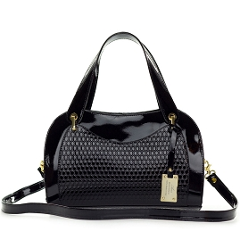 AURA Italian Made Black Patent Embossed Leather Satchel Handbag