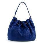 Navy Blue Leather Bucket Hobo Made in Italy by Bruno Rossi