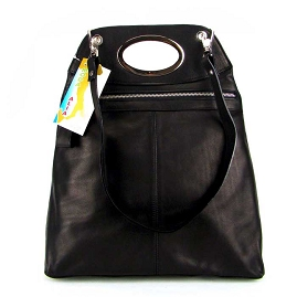 Moda Italia Italian Designer Black Leather Handbag Purse Shoulder Bag - / CLEARANCE /