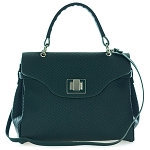 Dark Green Embossed Leather Carryall Tote Handbag Made in Italy by Roberta Gandolfi