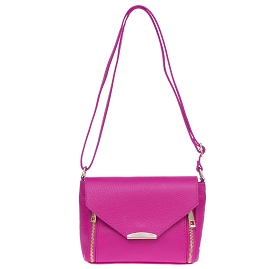 Laura di Maggio Italian Made Pink Fuchsia Pebbled Leather Small Crossbody Bag