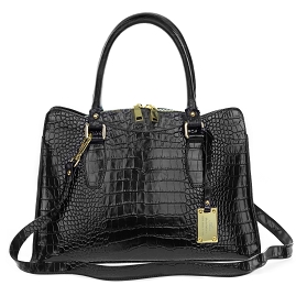 Giordano Italian Made Black Crocodile Embossed Leather Tote Handbag