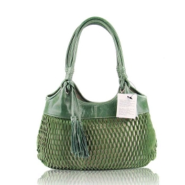 Lazetti Italian Made Green Blue Perforated Leather Designer Handbag - / CLEARANCE /