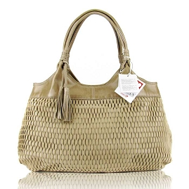Lazetti Italian Made Beige Perforated Leather Designer Handbag - / CLEARANCE /