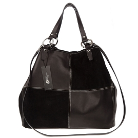 Asia Bellucci Italian Made Black Leather Oversized Shopper Tote - / CLEARANCE /