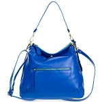 Giordano Italian Made Blue Leather Hobo Bag with Pocket