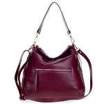 Cherry Red Leather Hobo Bag with Pocket Made in Italy by Giordano