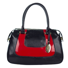 Giordano Italian Made Black & Red Leather Small Tote Handbag
