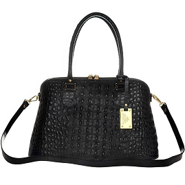 AURA Italian Made Black Crocodile Embossed Leather Tote