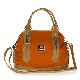 Medichi Italian Made Orange and Beige Leather Convertible Satchel Handbag Crossbody Bag - / CLEARANCE /