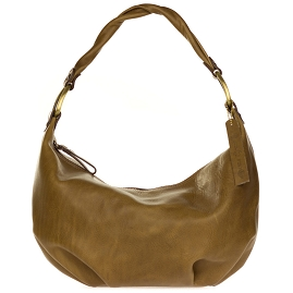 Robe di Firenze Italian Made Moss Brown Organically Treated Leather Hobo Bag