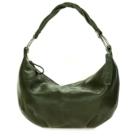 Robe di Firenze Italian Made Khaki Green Organically Treated Leather Hobo Bag