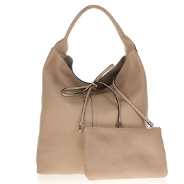 Gianni Chiarini Italian Made Beige Pebbled Leather Oversize Slouchy Hobo Bag