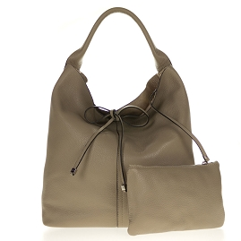 Gianni Chiarini Italian Made Taupe Pebbled Leather Oversize Slouchy Hobo Bag