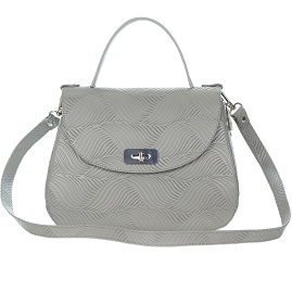 Giordano Italian Made Gray Floral Embossed Leather Handbag - / CLEARANCE /