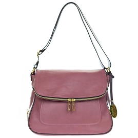 Giordano Italian Made Dusty Rose Leather Shoulder Bag with Wrap Around Zipper