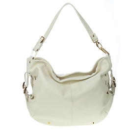 Stephen Italian Made White Leather Large Designer Hobo Bag - / CLEARANCE /