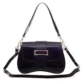 AURA Italian Made Black Patent Leather Small Crossbody Purse
