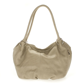 Cosette Italian Made Dove Gray Soft Leather Slouchy Hobo Shoulder Bag - /CLEARANCE/