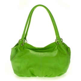 Cosette Italian Made Apple Green Soft Leather Slouchy Hobo Shoulder Bag - /CLEARANCE/
