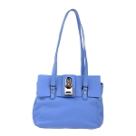 Patrizia Pepe Italian Made Periwinkle Blue Leather Small Shoulder Bag