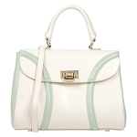 Jackyceline Italian Made Ivory Leather Small Tote Handbag