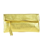 Gianni Chiarini Italian Made Gold Metallic Leather Evening Clutch Bag