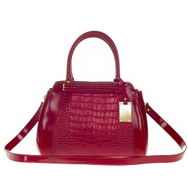AURA Italian Made Red Crocodile Embossed Leather Small Tote