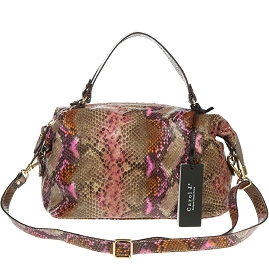 Carol J. Italian Made Snake Python Embossed Small Leather Satchel Bag