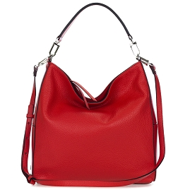 Gianni Chiarini Italian Made Red Pebbled Leather Large Hobo Bag