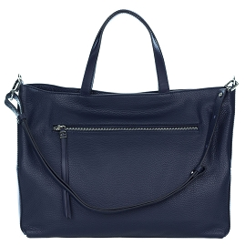 Gianni Chiarini Italian Made Navy Blue Pebbled Leather Large Carryall Tote Bag with Pocket